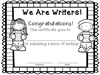 Writer's Workshop Celebration Certificate