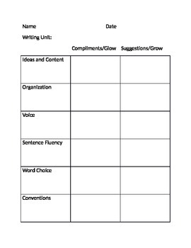 Writer's Workshop Conference Record Sheet