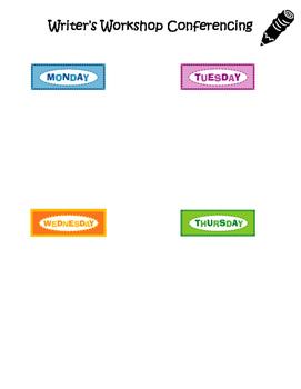 Writer's Workshop Conferencing Schedule