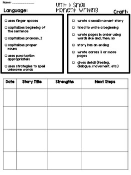 Writer's Workshop Conferring Notes Unit 1: Small Moment Writing