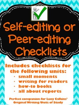 Writer's Workshop Editing Checklists - CCSS: 2.W.5, CCRA.W