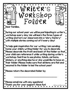 Writer's Workshop Folder Decoration Letter