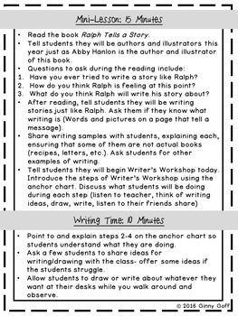 Getting Started with Kindergarten Writer's Workshop (Freebie)