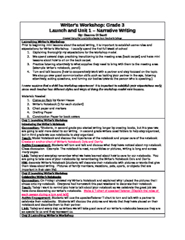 Writer's Workshop: Grade 3 Launch and Narrative Writing