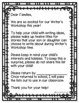 Writer's Workshop Ideas Parent Letter
