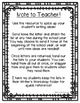 Writer's Workshop Ideas Parent Letter