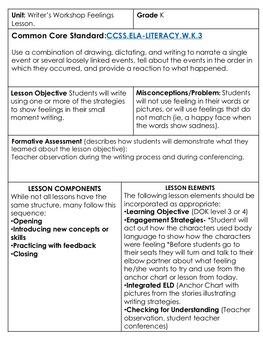 Writer's Workshop Lesson Feelings For Kindergarten and First Grade