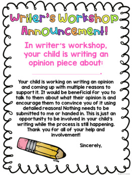 Writer's Workshop Letters Home: School to Home Connection