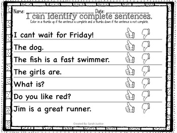 ( Complete sentences) Writer's Workshop Mini- Lessons for 1st and 2nd Grade