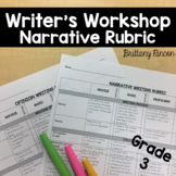 Writer's Workshop- Narrative Writing Rubric Grade 3 ---Editable