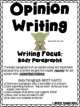 Writer's Workshop:Opinion Body Paragraph