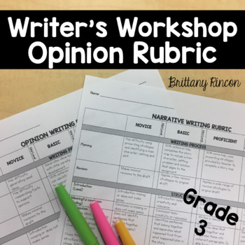 Writer's Workshop- Opinion/Persuasive Rubric Grade 3--Editable
