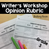 Writer's Workshop- Opinion/Persuasive Rubric Grade 3--Editable