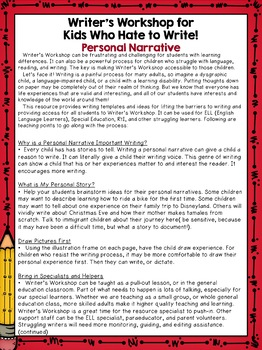 Special Education Writer's Workshop: Personal Narrative
