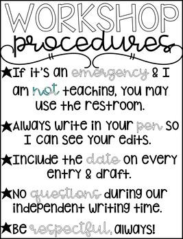 Writer's Workshop Rules & Procedures Printable