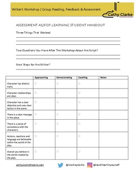 Writer's Workshop | Run A Feedback Circle for Learning, Feedback and Assessment