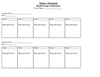 Writer's Workshop Small Group Conference Log