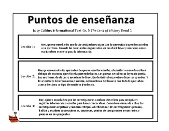Writer's Workshop, Spanish, Informational Text, Gr. 5 Teaching Points, Bend 1