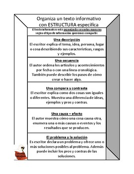 Writer's Workshop Spanish Informational Text Organizing by Structure