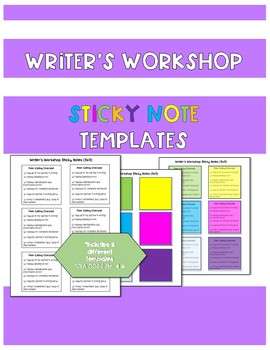 Writer's Workshop Sticky Note Templates