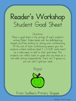 Writer's Workshop Student Goal Sheet