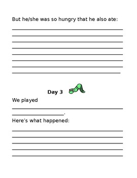 """The Diary of a Worm (Writing activity) """"The Diary of My Worm Friend and Me"""""""