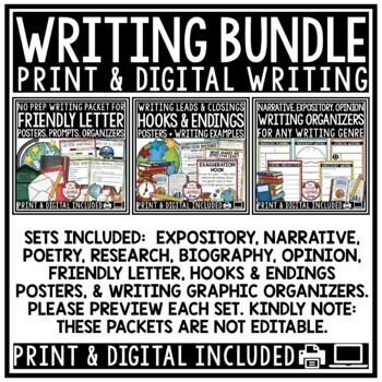 Writer's Workshop- Poetry Unit, Expository Writing Prompts 4th Grade Bundle
