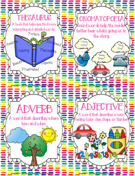 Writer's Workshop: Vocabulary Cards for Mini-Lessons