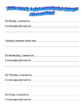 Writer's Workshop Weekly Student Reflection Sheet