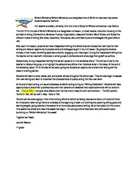 Writer's Workshop editable Parent letter