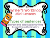 ( Statements and Exclamations) Writer's Workshop mini-lessons 1st and 2nd grade