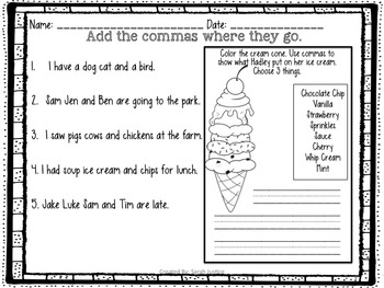 ( Commas in a series) Writer's Workshop mini-lessons for 1st and 2nd grade