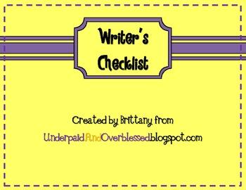 Writer's Checklist FREEBIE
