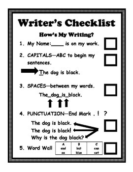 Writer's Checklist Self Evaluation for Early Writers Added