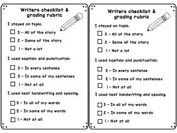 Writers Checklist - Self check rubric