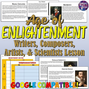 Enlightenment Writers, Composers, Artists, & Scientists Reading and Worksheet