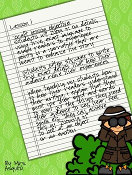 Writer's Craft Minilesson for Writer's Workshop~details