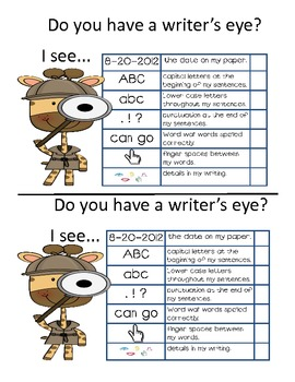 Writer's Eye Checklist