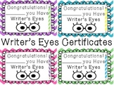 Writer's Eyes Certificates and Bookmarks