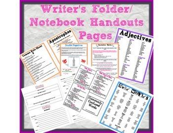 Writer's Folder/Notebook Handouts