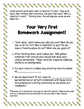 Writer's Notebook Decoration Request Letter for Beginning Writer's Workshop