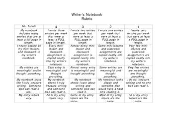 Writer's Notebook Rubric