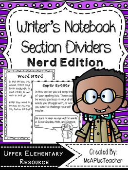 Writer's Notebook Section Dividers