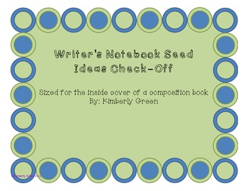 Writer's Notebook Seed Entries Check-Off