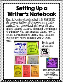 Writer's Notebook Set Up FREEBIE