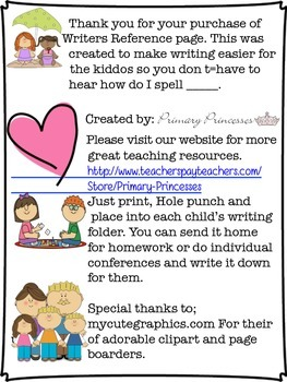 Writers Reference Page