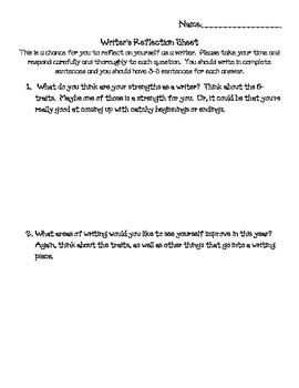 Writer's Reflection Sheet