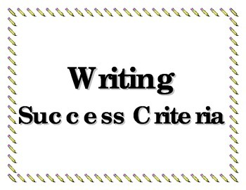 Writer's Success Criteria