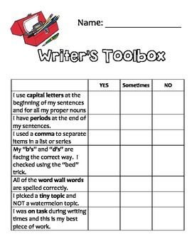 Writer's Toolbox Checklist for Editing