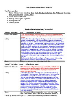 Writer's Workshop Author Study Unit